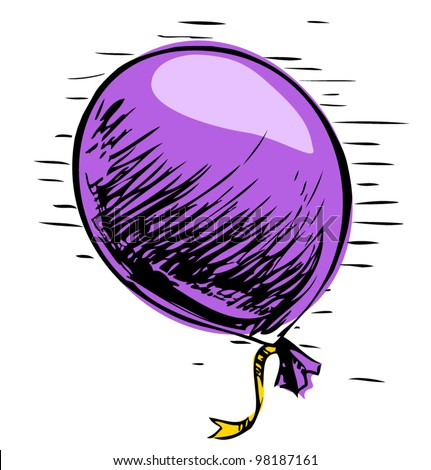 Party balloon with ribbon. Hand drawing sketch vector illustration - stock vector