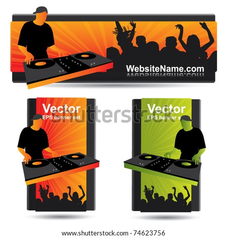 Party banner set with dj and crowd - stock vector