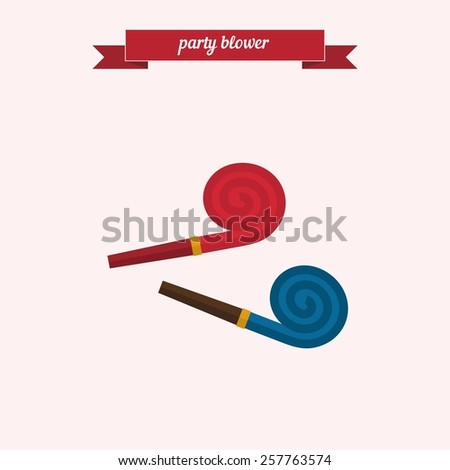 Party blower. Flat style design - vector