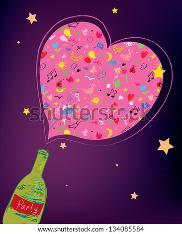 Party bottle background funny design - stock vector