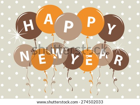 Party Card Happy new year with balloon Vector Illustration.