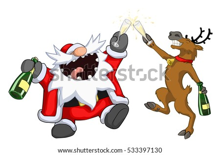 Party Christmas Cartoon, Toast