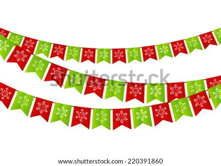 Party Christmas flags for Your design - stock vector