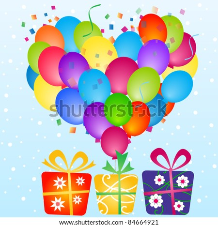 Party colorful balloons - stock vector