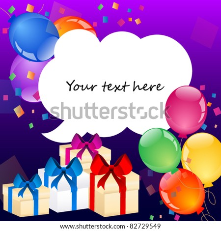 Party colorful balloons with place for your text