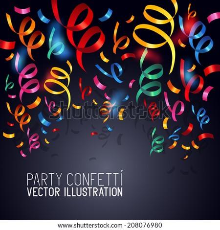 Party Confetti. Colourful confetti background vector illustration. - stock vector