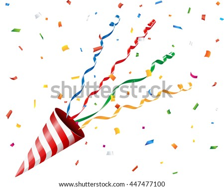 Party cracker with confetti and streamer on white background