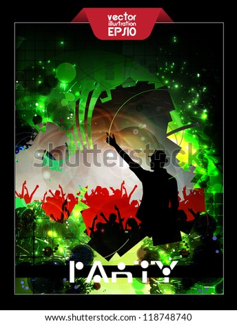 Party dance poster - stock vector