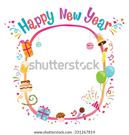 Party Decoration Objects Icons Frame, Happy New Year, Merry Christmas, Xmas, Festive, Celebrations