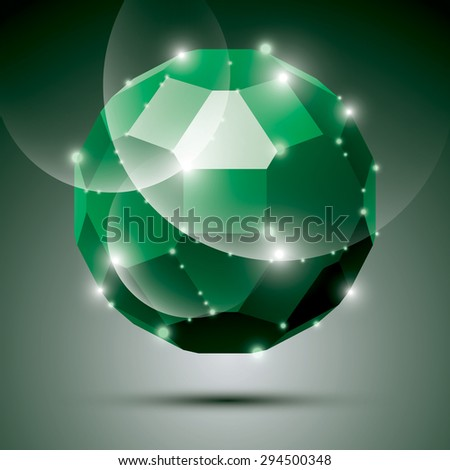 Party dimensional green sparkling disco ball. Vector abstract gala illustration - eps10 treasure. Celebration theme. - stock vector