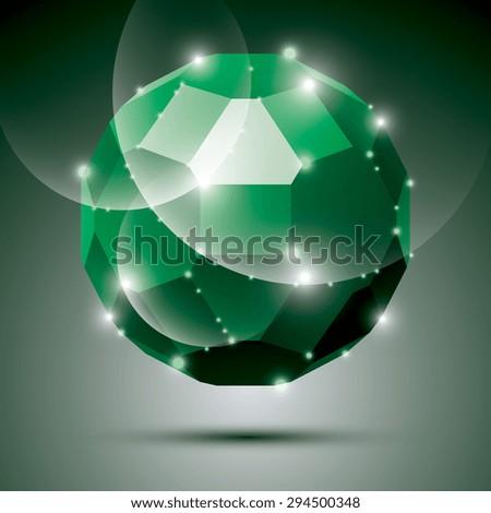 Party dimensional green sparkling disco ball. Vector abstract gala illustration - eps10 treasure. Celebration theme. - stock vector
