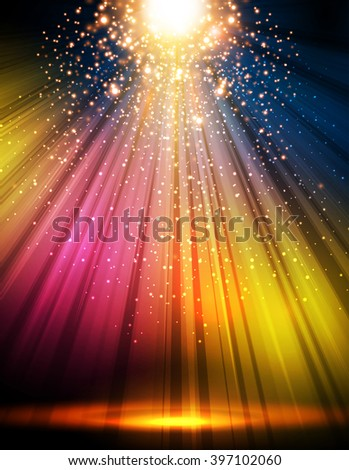 party disco stage light spotlight empty scene illustration easy all editable - stock vector