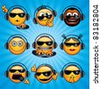 Party DJ Smileys. Variety vector Deejay Faces for your icons, avatars, logos. - stock vector