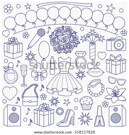 Quinceanera Dresses Coloring Pages. Party doodle set with girl objects and elements on squared background  Coloring page Quinceanera Doodle Set On White Background Stock Vector 556960483