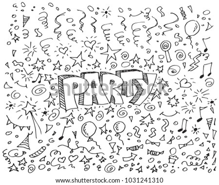 Party doodles on white background