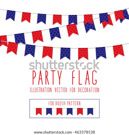 Party Flag polka dot red and blue color Illustration Vector For Decoration.