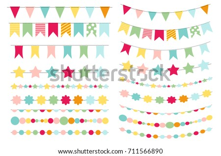 Party Flags Buntings Creating Party Invitation Stock Vector HD