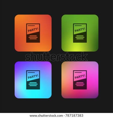 party flyer four color gradient app stock vector 787187383