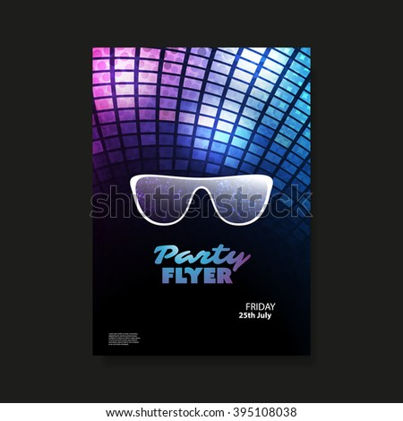 Party Flyer or Cover Design With Colorful Background - stock vector