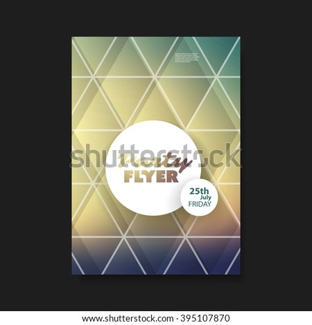 Party Flyer or Cover Design With Colorful Mosaic Background - stock vector