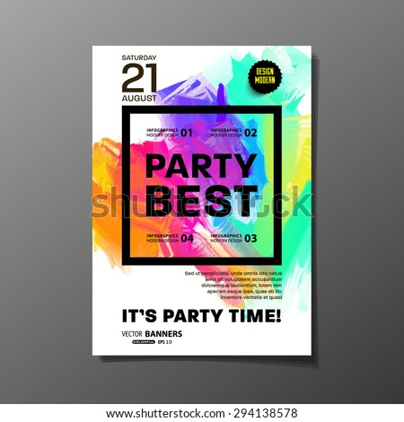 Party Flyer Template. Vector Design. Abstract Paint Colorful Background. - stock vector