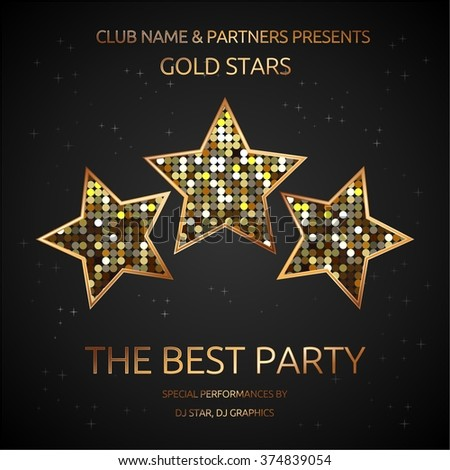 Party Flyer. Vector illustration. Three gold stars on a dark background. - stock vector