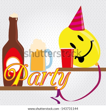 party funny design over dotted background vector illustration - stock vector
