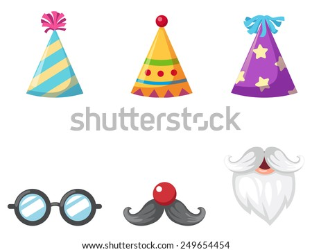 Party hat and glasses and mustache isolated vector illustration - stock vector