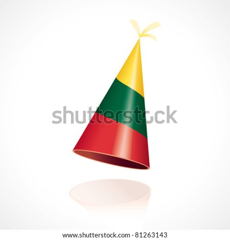Party hat with the flag from Lithuania - stock vector