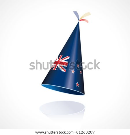 Party hat with the flag from New Zealand - stock vector