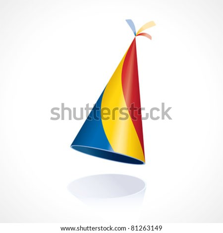 Party hat with the flag from Romania - stock vector