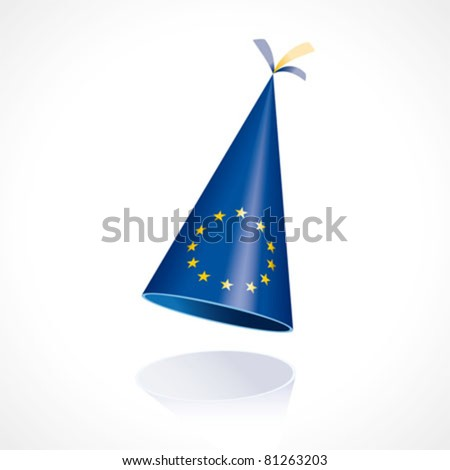 Party hat with the flag of Europe - stock vector