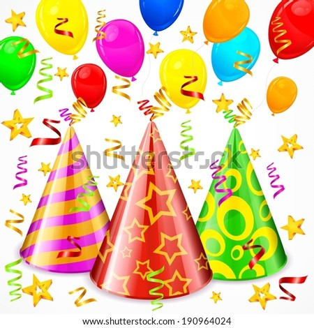 Party hats, serpentines, balloons and stars, vector illustration - stock vector