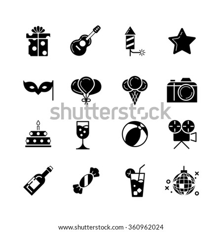 Party, holidays, and birthday black icons set. Celebration and cake with candle, balloon and gift, vector illustration - stock vector