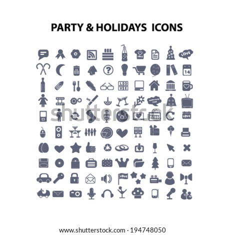 party, holidays icons set, vector - stock vector