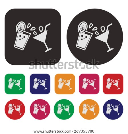 Party icon / Drink icon / Cocktail icon - stock vector