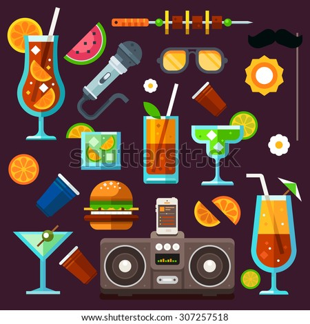 Party icon set, summer fun, cocktails and celebrations. Methods to relax: party, music, food, travel, entertainment. Vector flat icon set - stock vector