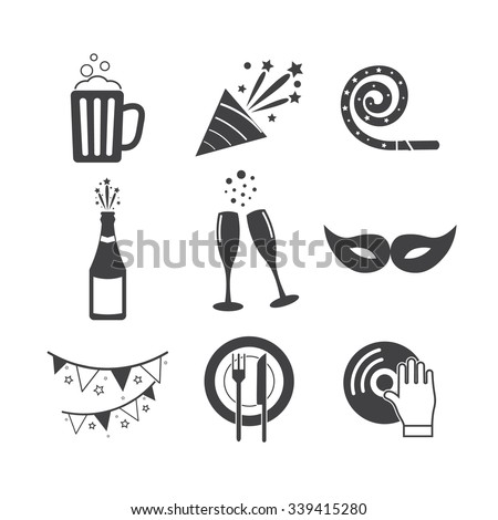 Party icons - stock vector
