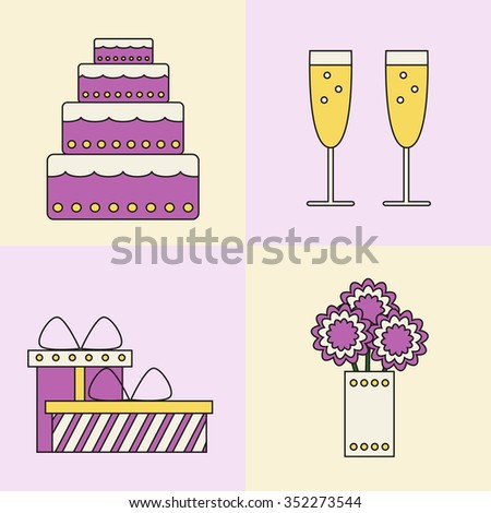 Party icons on colored background. Isolated cake, champagne glasses, gift boxes and bouquet icons. Holiday party. Christmas party. Birthday party. Wedding party. Flat line style vector illustration.  - stock vector