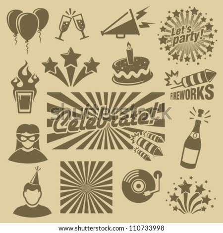 Party icons set. - stock vector