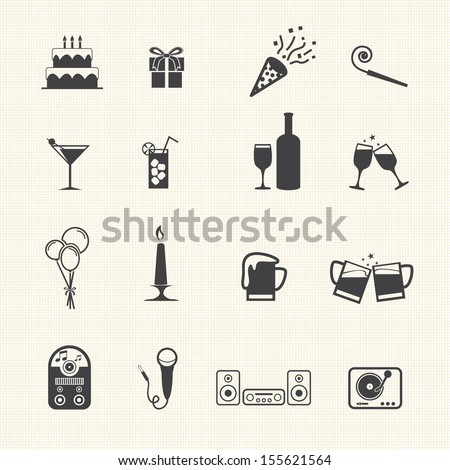 Party icons set - stock vector
