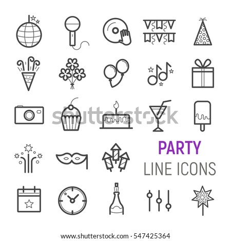 Party icons set. Vector flat line illustrations.