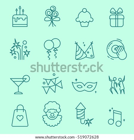 Party icons, thin line, flat design