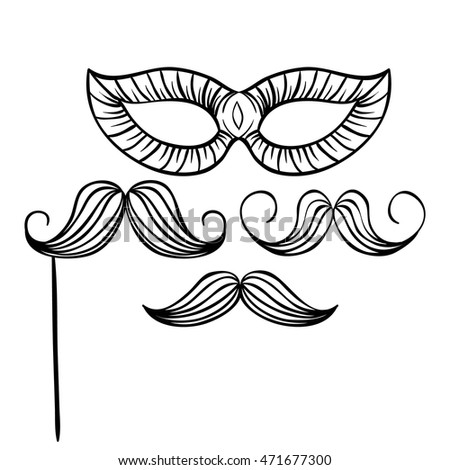 Party icons with mustache and mask using doodle art