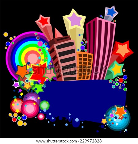 Party in city design template with place for text.  - stock vector