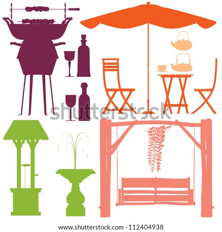 Party in the park silhouette set vector - stock vector