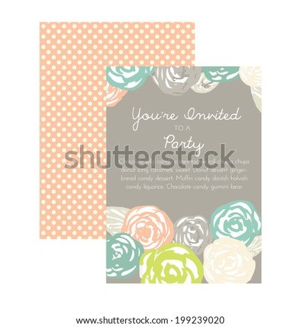 Party Invitation Vector. Flower Party Invitation Template. Birthday Party Invitation Template. Shower Invite. - stock vector