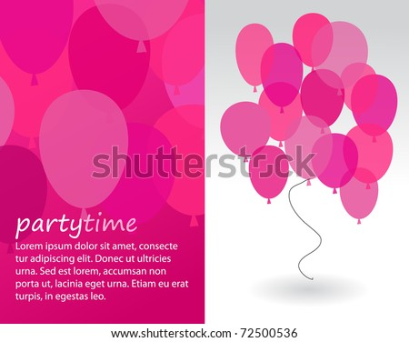 party invitation with pink balloons - stock vector