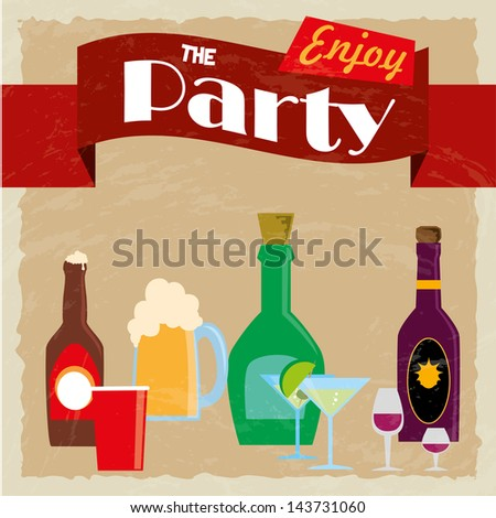 party label over vintage background vector illustration - stock vector