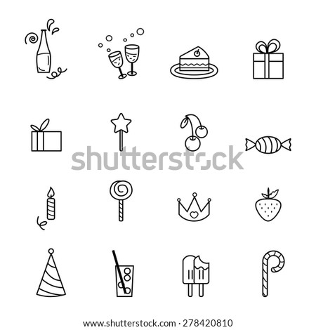 Party line icons set illustration for design EPS 10
